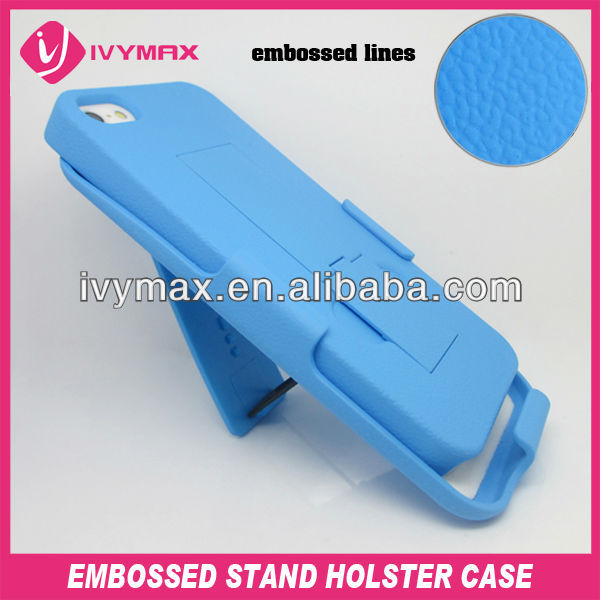 Shell Holster Case embossed Belt Clip+Stand Case For iPhone 5