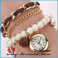 Top quality best price women fashion weave ladies leather wrist watches