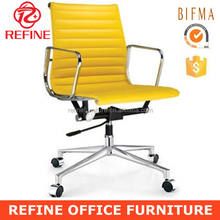 low back aluminum group swivel replica emes office chair yellow leather RF-S072Y