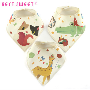 3 Layers Cotton Fleece Waterproof With Custom Pattern Printed Baby Bib Bandana Bibs