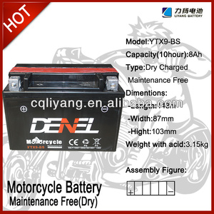 250cc racing lifan-motorcycle spare parts / battery for motorcycle 12V 9AH (YTX9-BS)