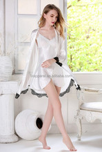 White Two Pieces Satin Long Sleeve Robe And Gown Set With Lace Trim M L XL DJ3113-1