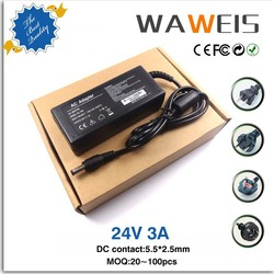 universal 72W AC DC switching 24v3a power ac adapter 24 volt 3 amp power supply