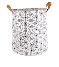 natural canvas eco freindly collapsible foldable laundry basket with PU handles