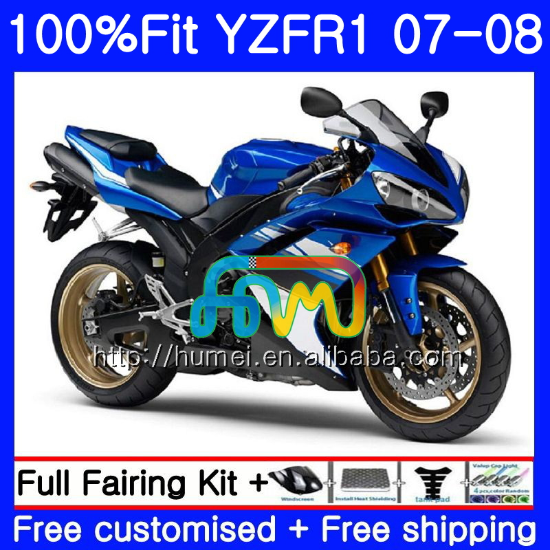 Injection Body For YAMAHA YZF <strong>R1</strong> 07 <strong>08</strong> YZF-<strong>R1</strong> 2007 2008 90HM42 YZF1000 blue black YZFR1 YZF-1000 YZF 1000 R 1 07 <strong>08</strong> <strong>Fairings</strong>