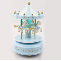 Wooden Toy Christmas Gift Carousel Horse Music Box With Light TH0516