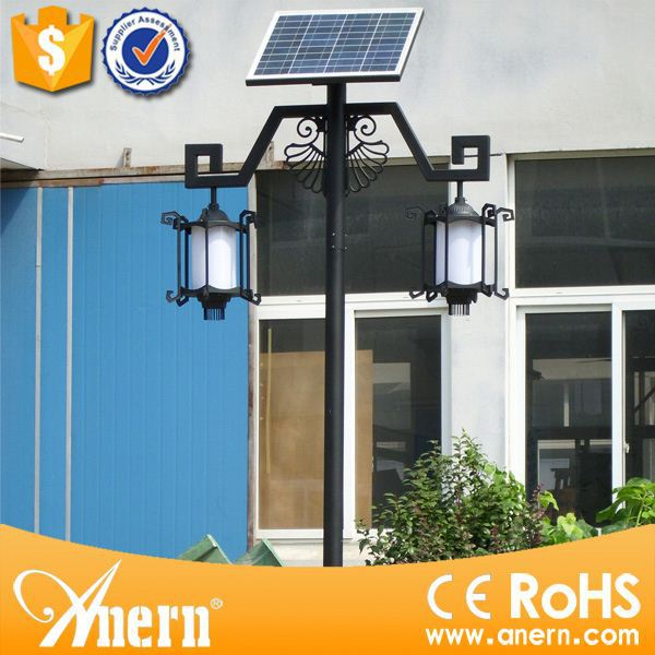 unique design 3.5m high pole 2pcs x 5w globe solar garden lights