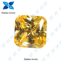 fake diamond square cut golden synthetic gem zirconia stone price