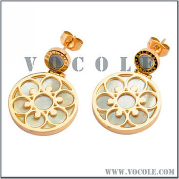 new European court flower style shell steel lady earrings