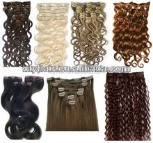 wholesale hairpiece 100% virgin human hair clip in curly hair extension