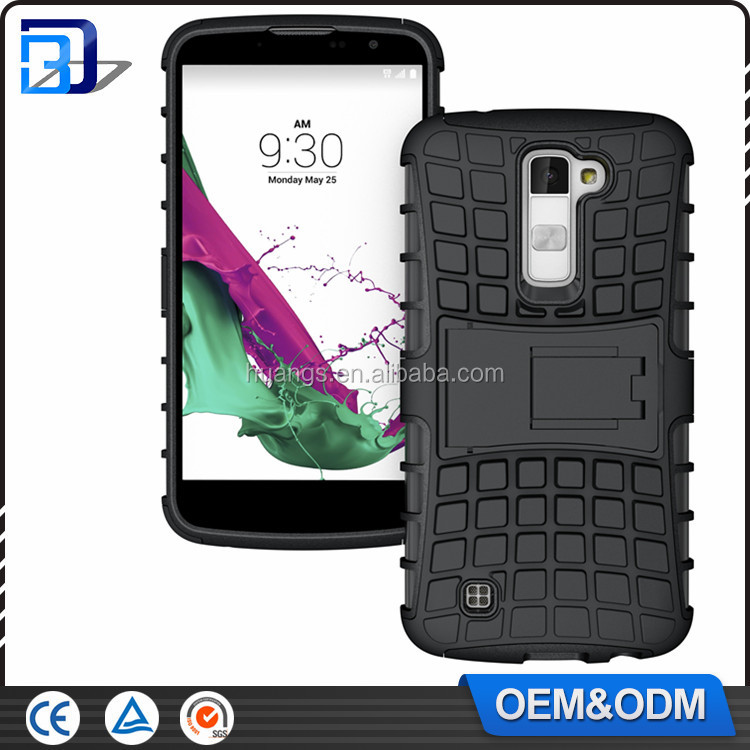 2 IN 1 TPU PC Phone Cases Tire Pattern For LG K10 Slim Armor Kickstand Handphone For LG K10 M2 Cases Factory Price