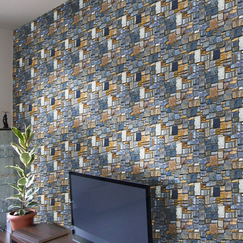 Modern style Stone brick design wall stickers wallpaper 3D brick wall paper Home deco stickers