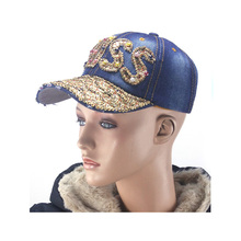 Stone washed distressed denim rhinestones miss outdoor sports caps baseball caps