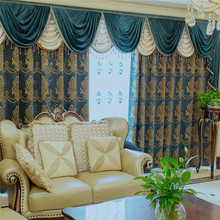 European jacquard blackout hotel curtain with valance decoration