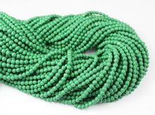 16 Inches - 3.4-4mm - Natural Malachite Smooth Round Beads Strand JE1308