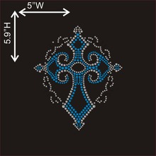 Hot fix motif applique bling rhinestone Cross Iron on tranfer