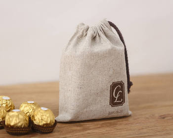 Personalized natural linen wedding favor drawstring gift pouch bags