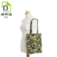 Fashionable style camouflage custom canvas cotton tote bag for shopping with handle