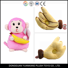 Stuffed plush monkey and banana toy with speaker