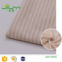 wholesale natural colored organic striped single cotton jersey fabric