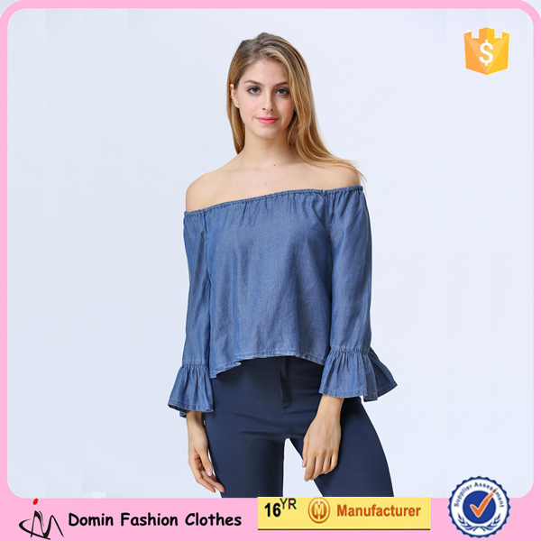 New Design Women Clothing Manufacturers Off Shoulder Denim Blouse For Women