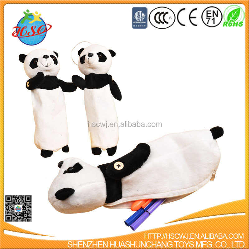 Lovely animal head shaped pencil bag/fancy plush toy pencil pouch