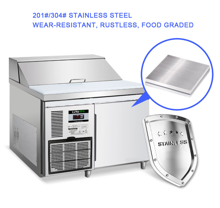 LVNI ventilated cooling 1.2m counter stainless steel salad bar refrigerator with 5 1/3 GN pans