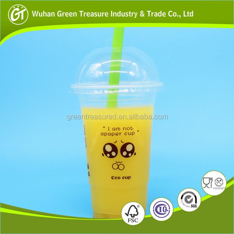 Biodegradable PET/PP Plastic cup for hot and cold drink transparent plastic cup cola/ice plastic cup with straw cover