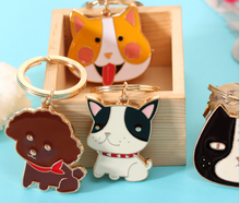 cute animal head metal epoxy keyring carton car soft enamel dog pet key chains