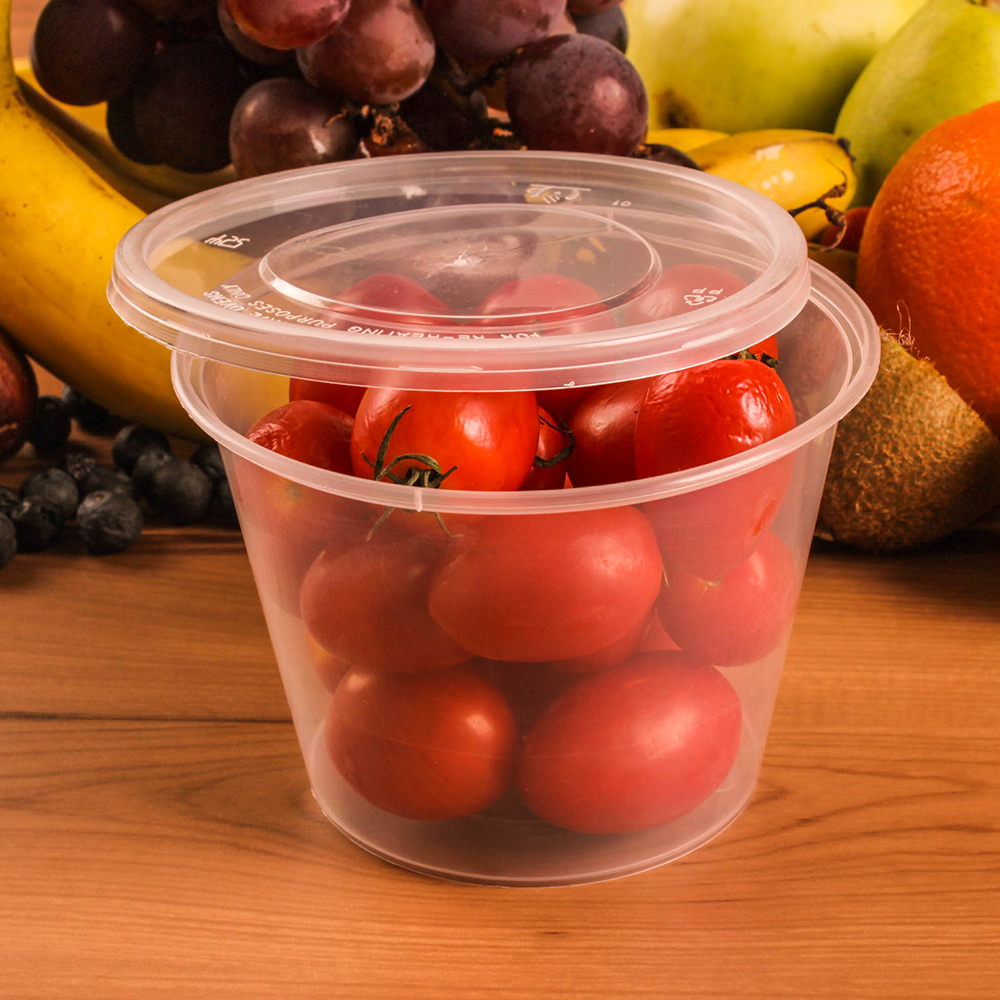 disposable round plastic food container with divider/lid