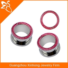 2015 Hot sale body jewerly ear plug purple edge steel time jewelry