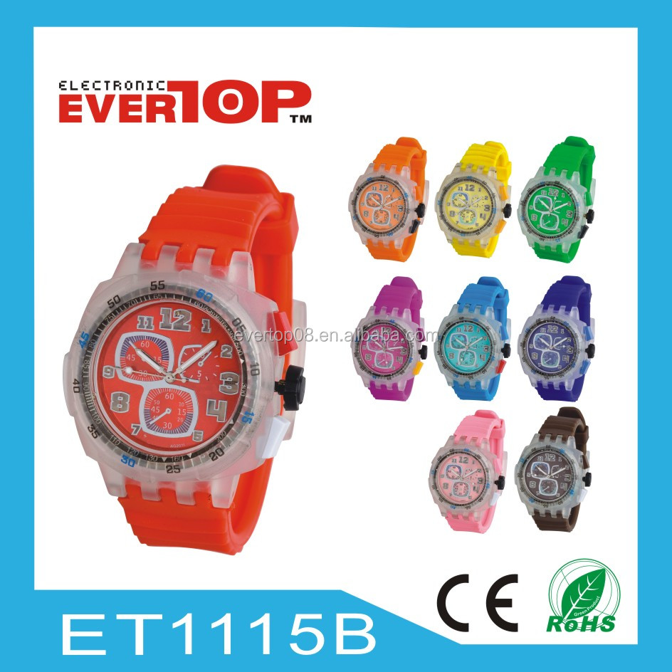 2015 HOT-SALES PROMOTIONAL GIFT SILICON WATCHES WITH FLASHING LIGHT ET1115B