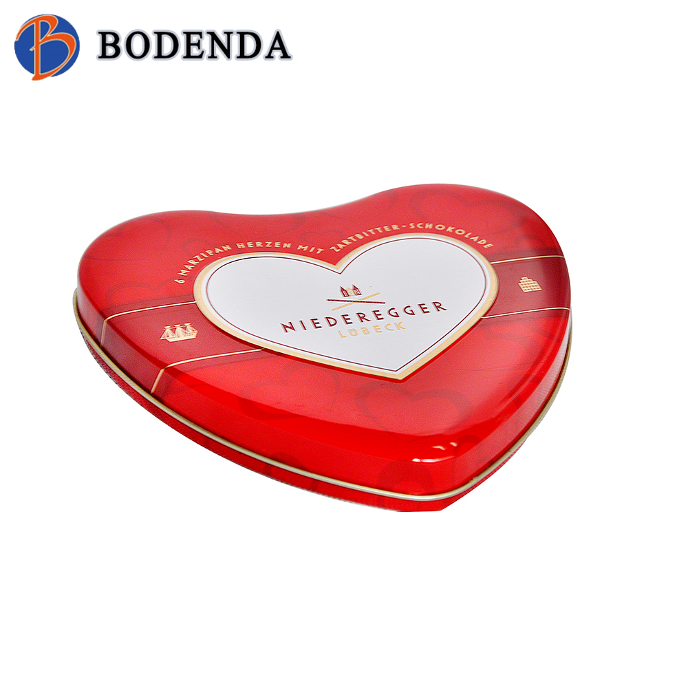 Customized Promotional Printed heart shape Metal Chocolate Tin Box