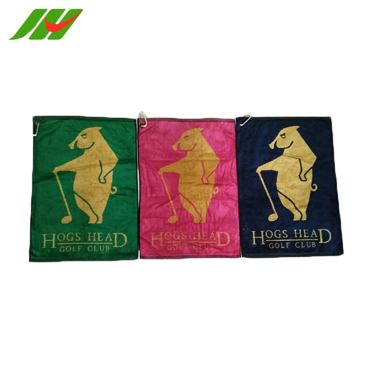 Wholesale Alibaba Fashionable China Factory Embroidered Square Golf Towel With Grommet And Hook