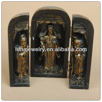 Antique chinese resin figurines three wise fuk luk sau ,antique buddha for sale