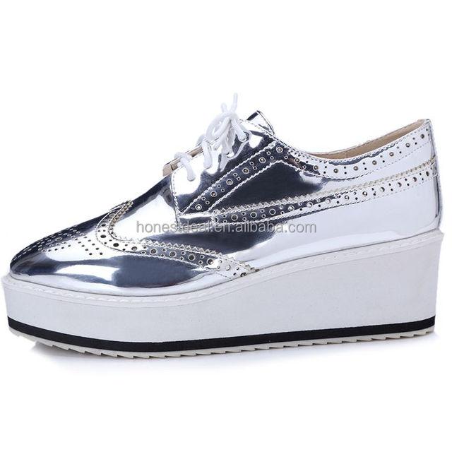 2017 korea new style wedge heel shoes women's wingtip sneakers