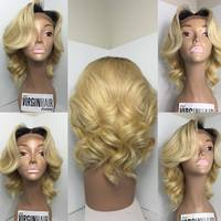 Unprocessed 100% Human Virgin Aliexpress Hair Blonde Full Lace Wigs For White People
