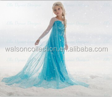 2016 wholesale high quality kids clothing Princess elsa fever dress party dress for girls