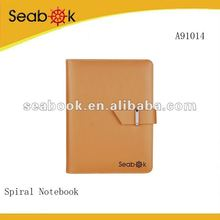 Brown PU Personal Blank Cover Spiral Notebook