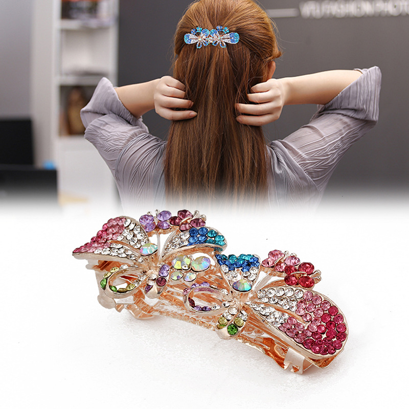 Wholesale butterfly shape alloy metal crystal hair claw clip