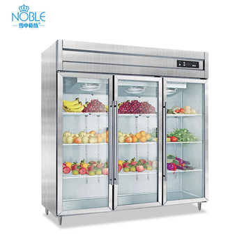 1000L Airflow Cooling Commercial Kitchen Stainless Steel Upright Glass Door Upright Refrigerator