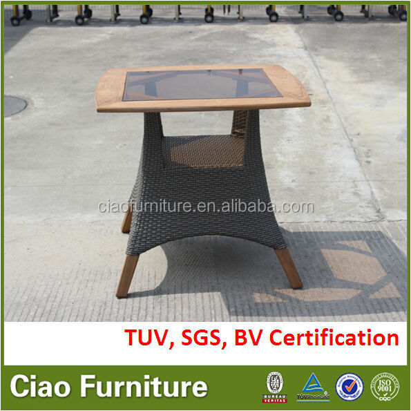 Square vietnam teak wood table with insert glass
