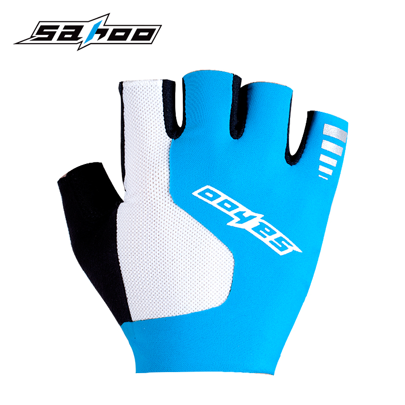 Sahoo Rubber Pad and Ultrasonic Seamless Half Finger Mountain Bike Gloves Cycling Gloves