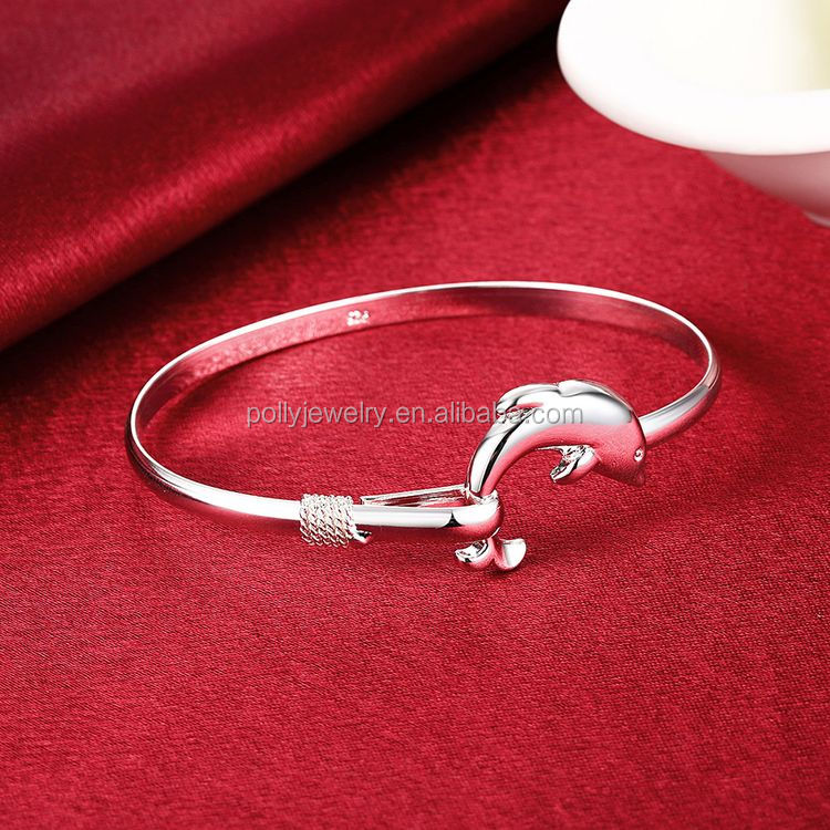 2018 Cute Style 925 Silver Plated Copper Inside Girl's Dolphin Opening Bangle