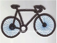 Fashion Bike sequins embroidery design patches for clothes/clothing