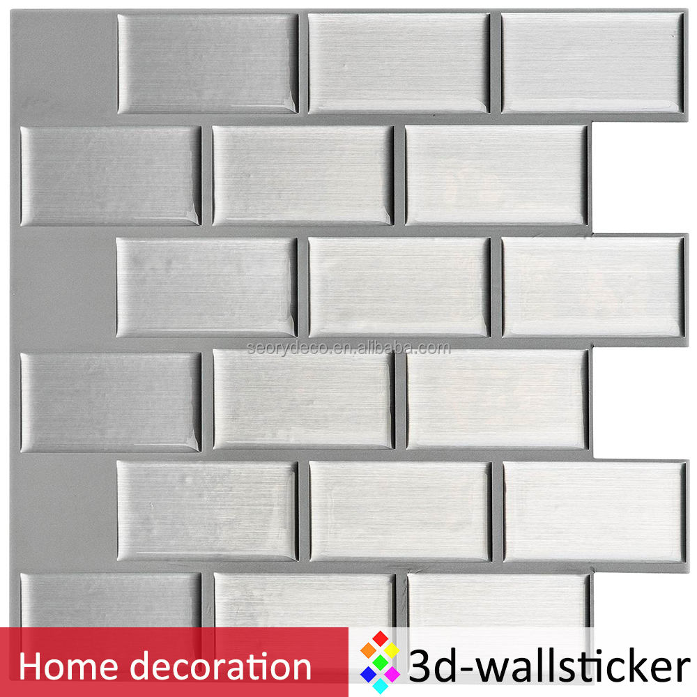 Silver wall sticker water resistant 3D self adhesive wall sticker tiles for kitchen backsplash