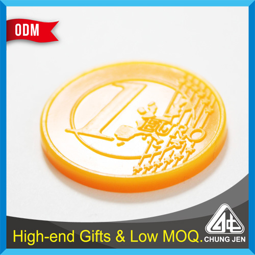 Best selling cheap colorful trolley coin embossed custom plastic token