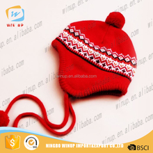 winter kids knitted hats with ball on top