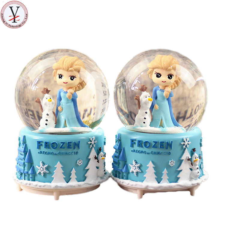 Factory custom made birthday gift snow globe polyresin music snowball for lover