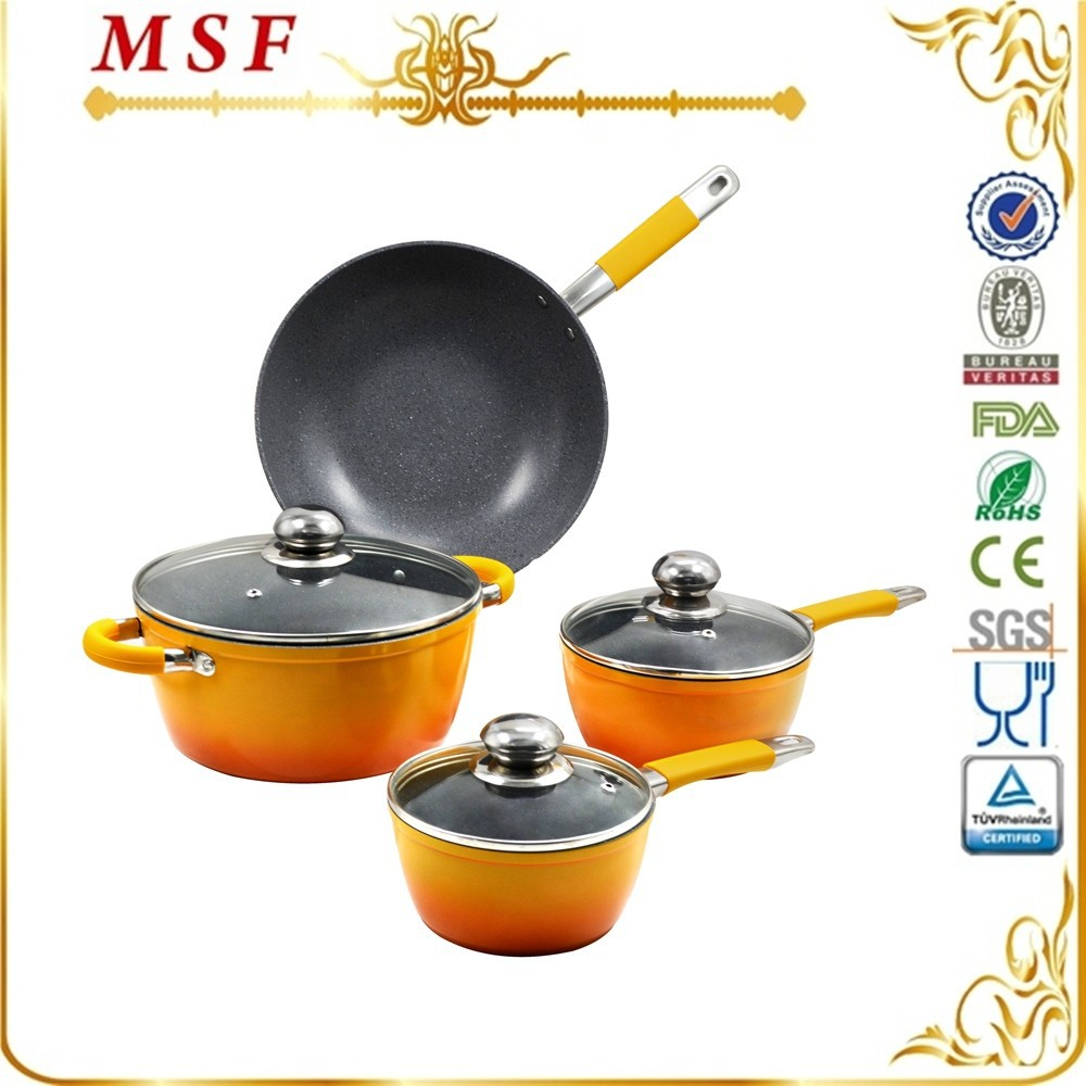 SS & silicon handle ceramic coating forged aluminum cookware-cook pan & pot & fry pan